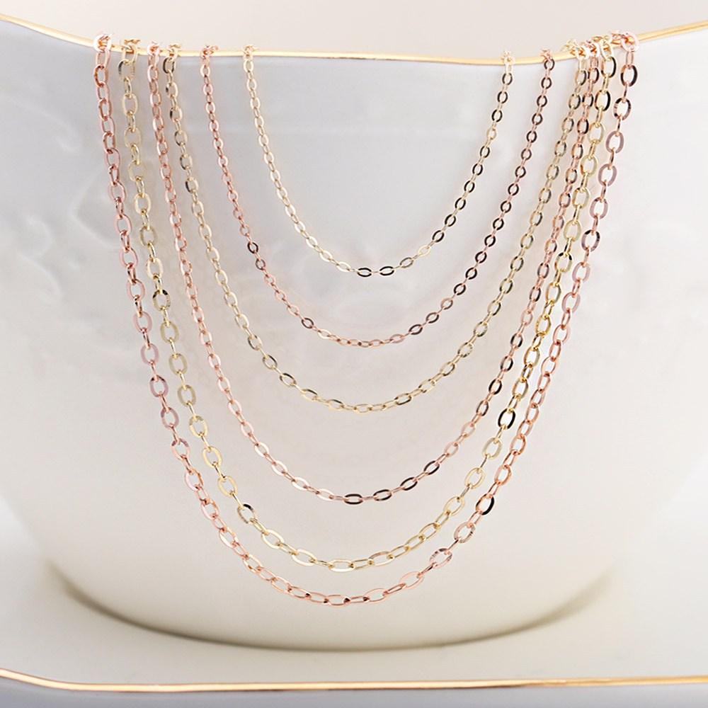 쥬골드 14k목걸이 14K체인 금목걸이 14K목걸이줄 금체인 모줄 골드 핑크 목걸이