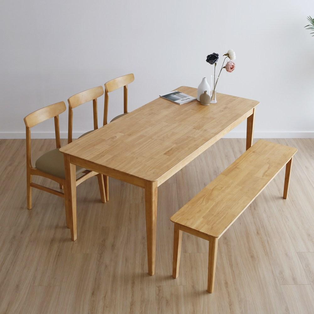 라미에스 디첸 고무나무 원목 6인식탁세트, 04 디첸6인식탁1+벤치1+의자3