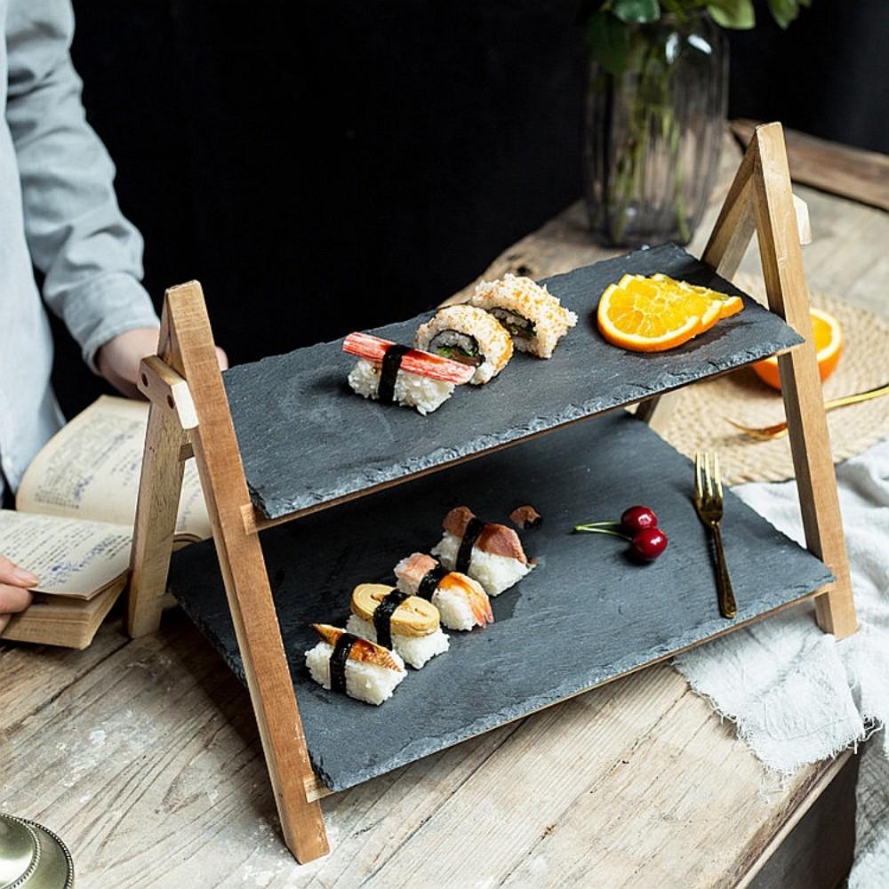 일식집 혼술 오마카세 회포장 포장초밥 월남쌈 카나페 우드 계단식 접시 트레이, 2단46X24+46X14CM