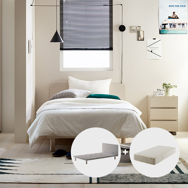 [일룸]로이모노 슈퍼싱글 침대 세트 1100폭(매트포함), 그레이(GYM)