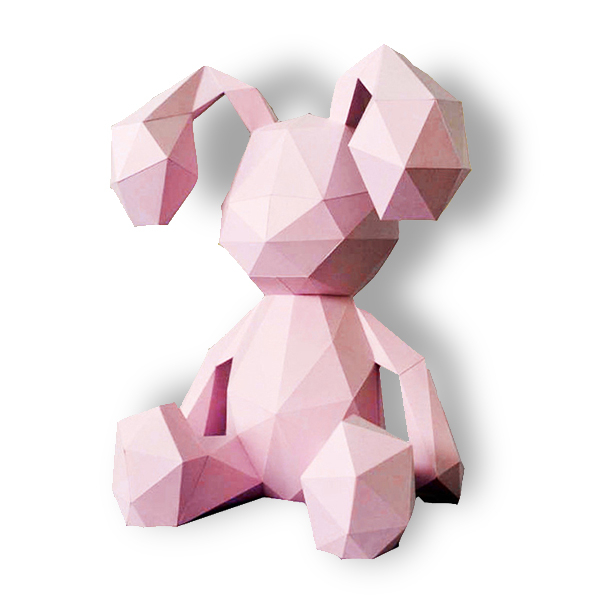 울트라패션 DIY 종이공예 페이퍼 크래프트 종이인형 페이퍼돌, 앉은 토끼