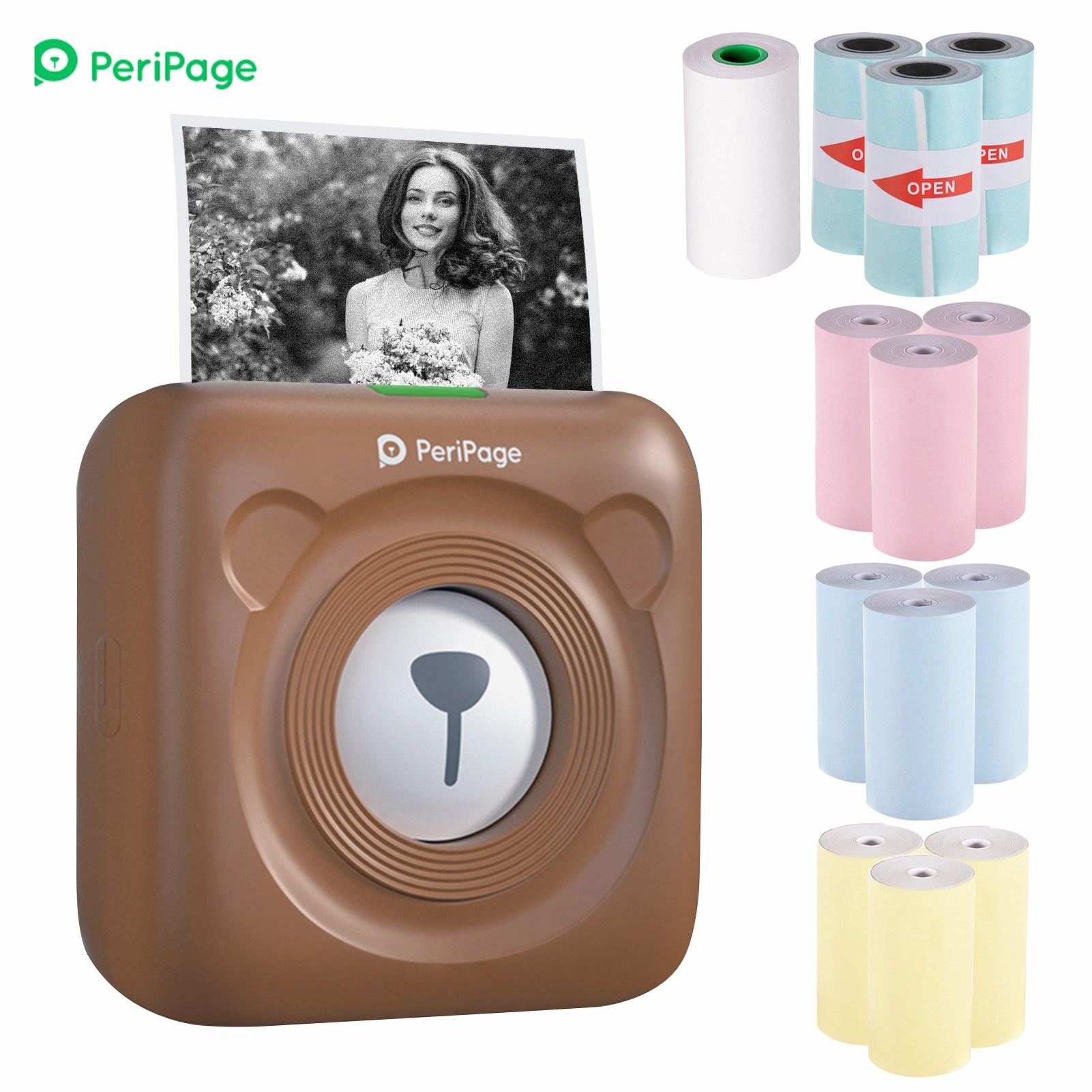 PeriPage 휴대용 미니 블루투스 라벨프린터 + 프린터라벨지 13롤, 1세트, 브라운