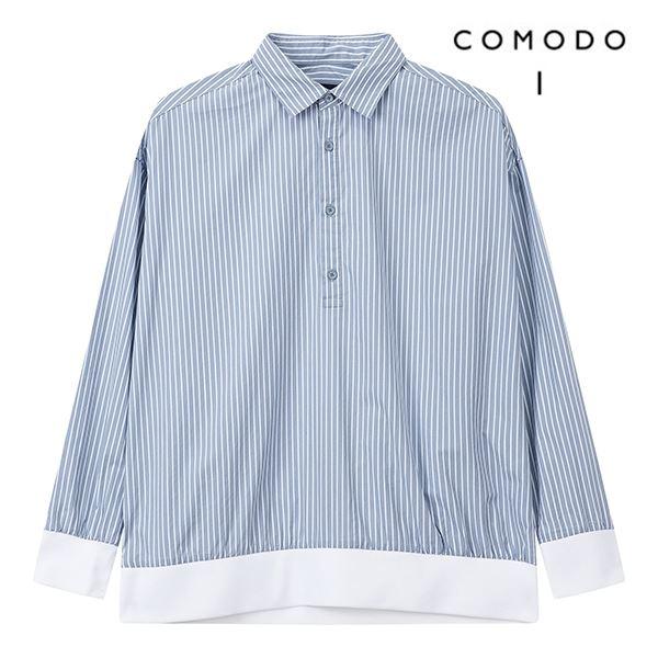COMODO 코모도 블루 네오핏 스트라이프 셔츠 맨투맨