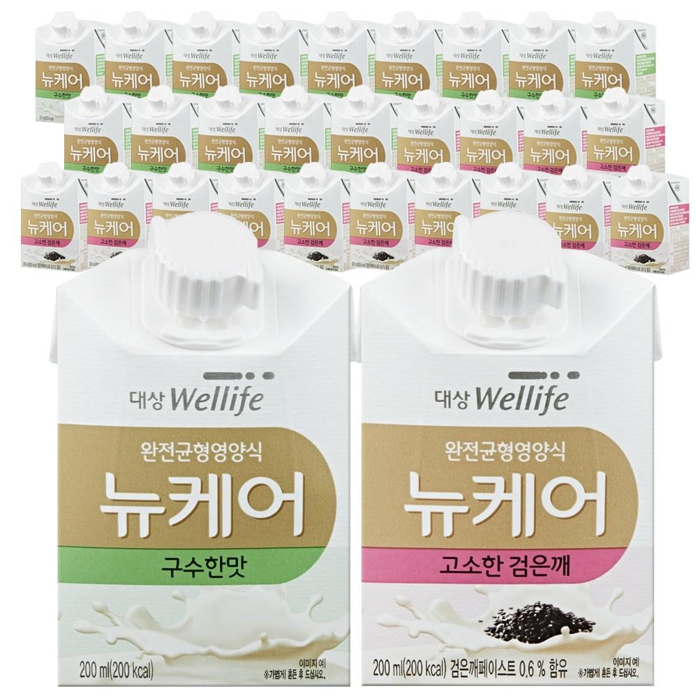 [대상웰라이프] 뉴케어 구수한맛 검은깨맛 아셉틱 200ml x 30팩  구수한맛 15팩+고소한검은깨 15팩[대상웰라이프] 뉴케