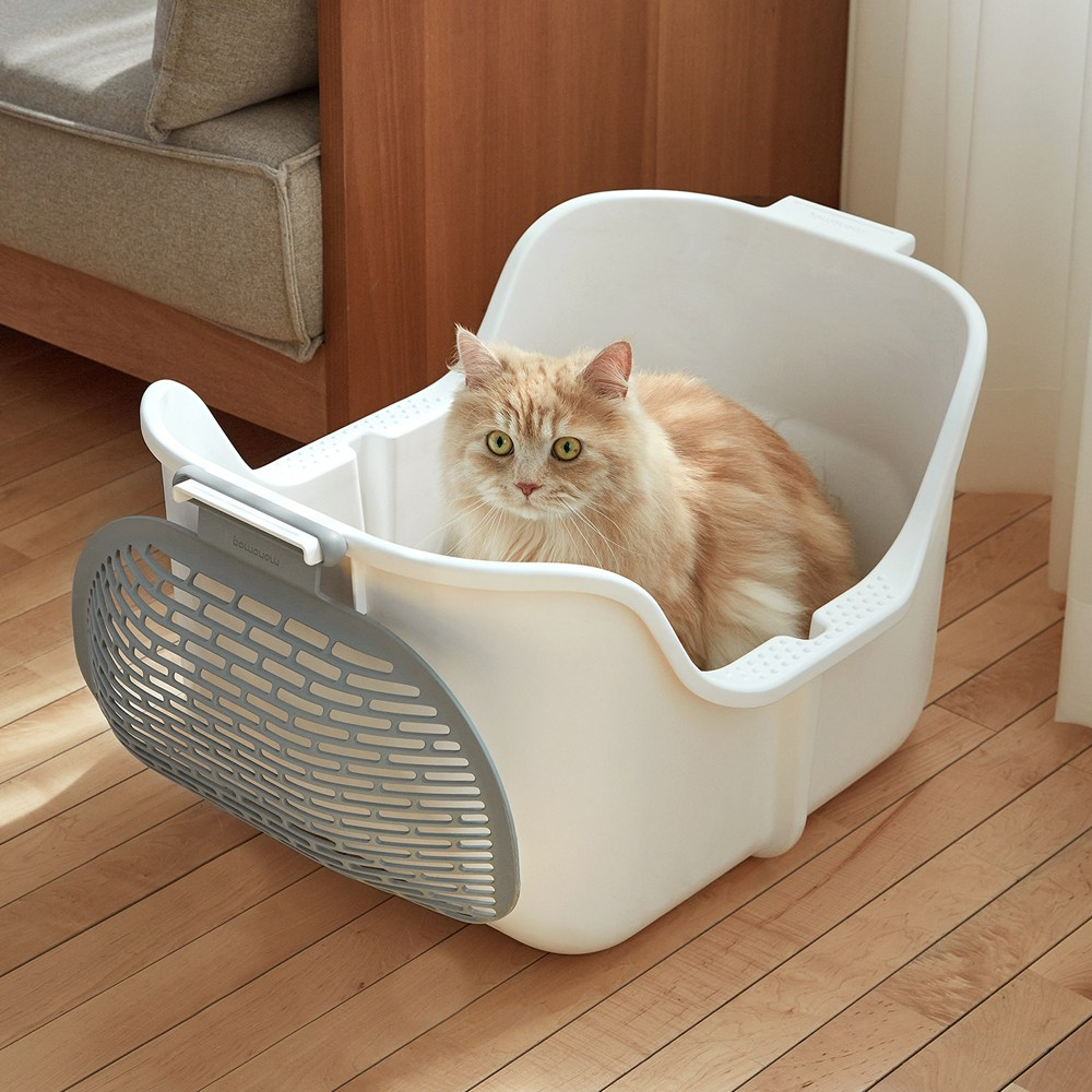 모래삽없이 편하게 대형 고양이 화장실 모노모그 스윙캣, 스윙캣1세트-화이트