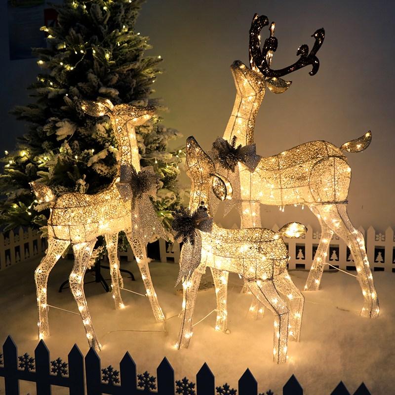 크리스마스 루돌프 LED 조형물 실내 전시 전구, 루돌프 3가족