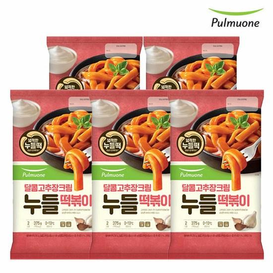 [K쇼핑][풀무원] 달콤고추장크림 누들떡볶이 2인(375g)x5개, 단일상품