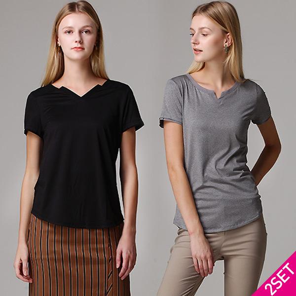 르오트 2SET 홈쇼핑방송/르오트(LeOT) 컨템포러리 날씬핏 페미닌 티셔츠 2종세트(블랙 그레이)-사이즈 55~99다양