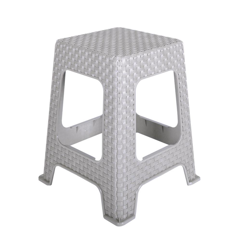 지오리빙 플라스틱 라탄 의자, 사각(그레이)