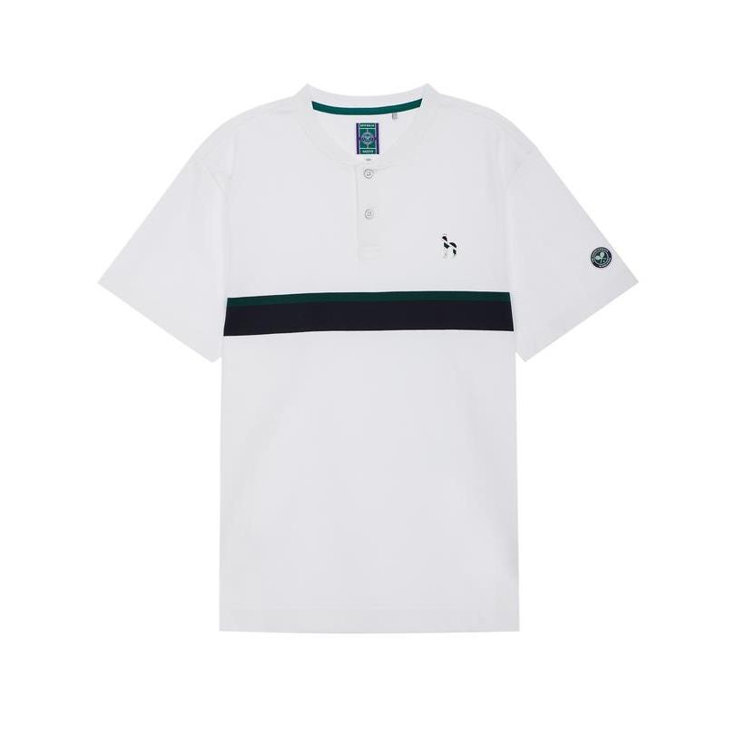 헤지스 남성용 20SS 윔블던 라인 화이트 컬러블록 면 반팔 티셔츠 HZTS0B006WT