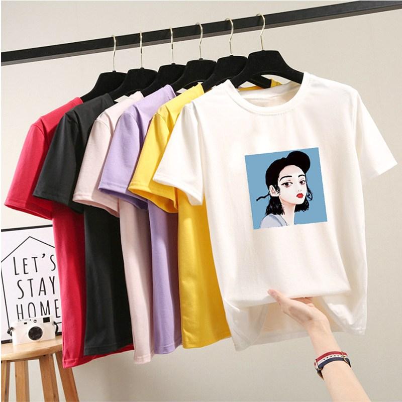 스타일아유 여성용 스판 프린트 반팔 티셔츠