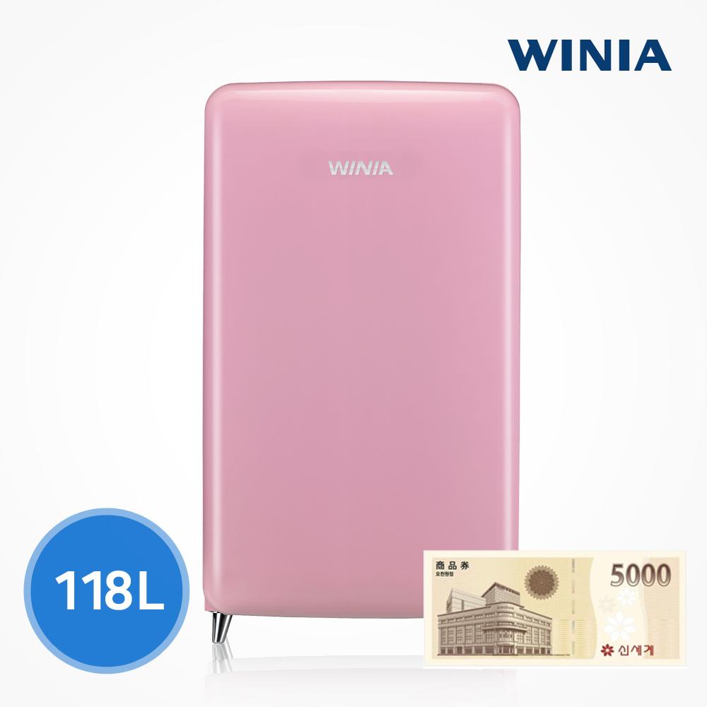 위니아 칵테일 프리미엄 소형 냉장고 (118L) ERT118CB, 핑크