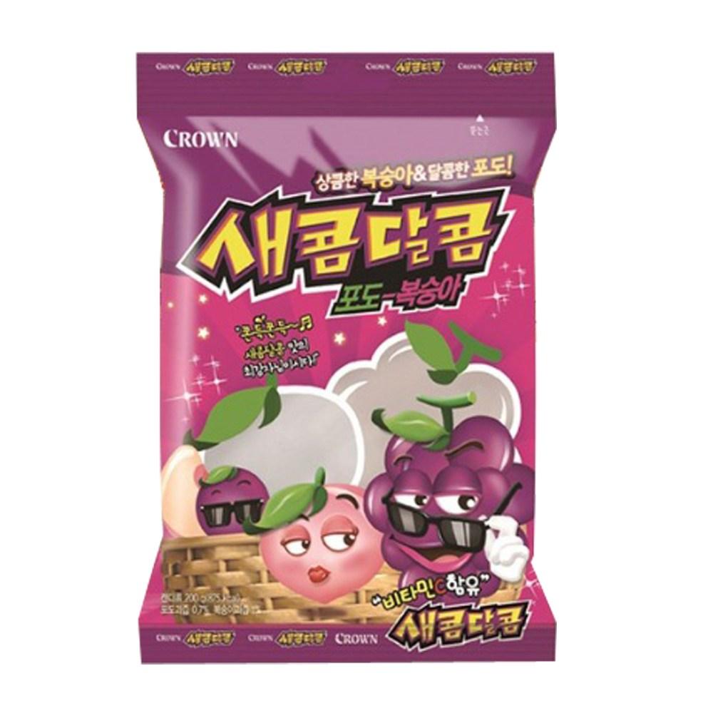 크라운제과 새콤달콤 포도 복숭아 200g, 1개
