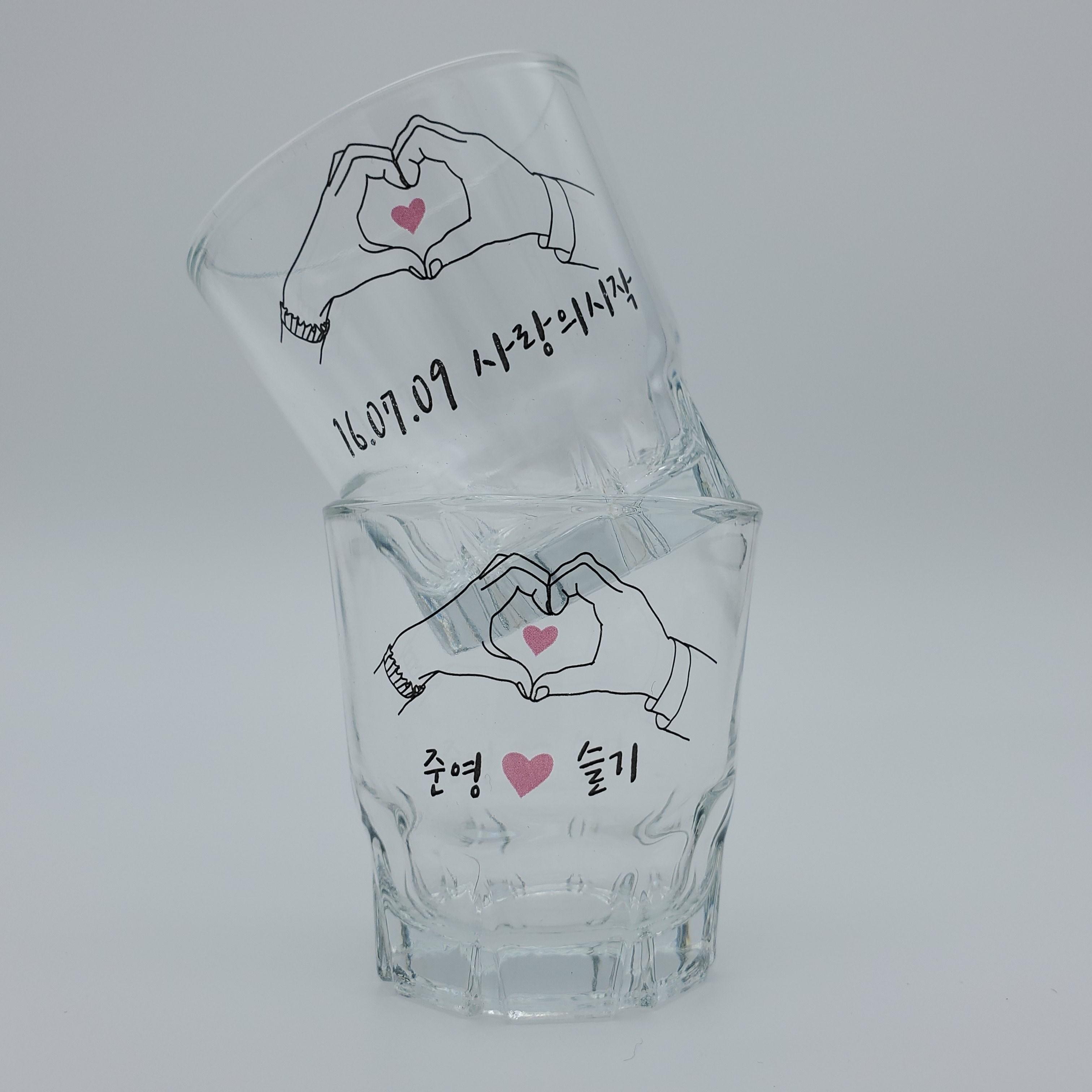 펭귄상점 소주잔 주문제작 특별한 개별맞춤 술잔, 1개, 커플하트