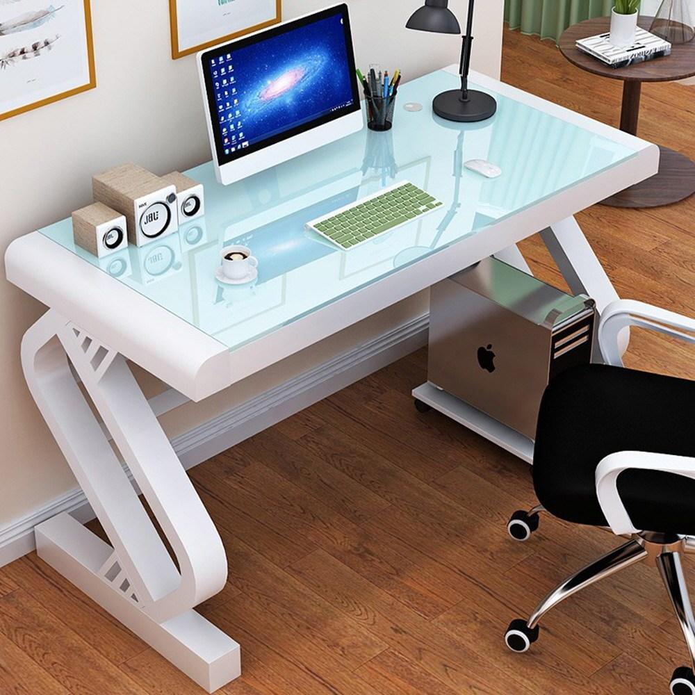 AUS 강화유리 컴퓨터책상 게이밍책상 컴퓨터테이블 학생책상 서재책상 사무용책상 1인용 2인용, 화이트+화이트 100x60x75cm