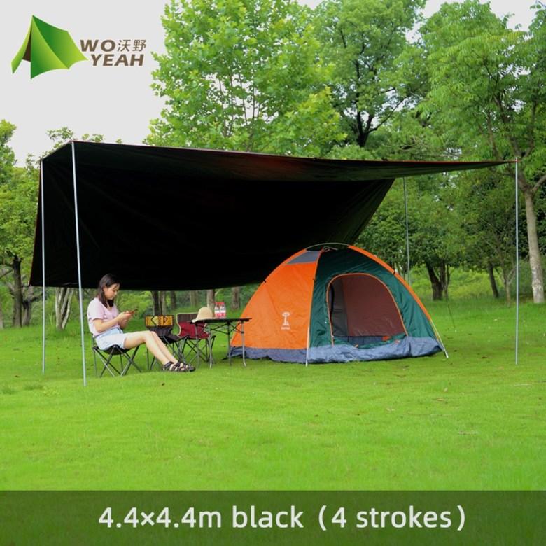 자외선차단 블랙코팅 홀리데이 렉타 타프 캠핑 차박용 텐트 스크린 제작 폴대 타프쉘 고투, 4.4 * 4.4m4 막대 비닐 [블랙 비치 손톱 보내기
