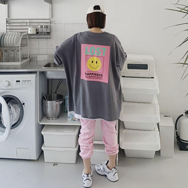 애플망고샵 여성 해피롱박스티 빅사이즈 오버핏 반팔 라운드 티셔츠 루즈핏 캐주얼이힝 오버핏 가오리 벌룬소매 트임 롱티셔츠 맨투맨