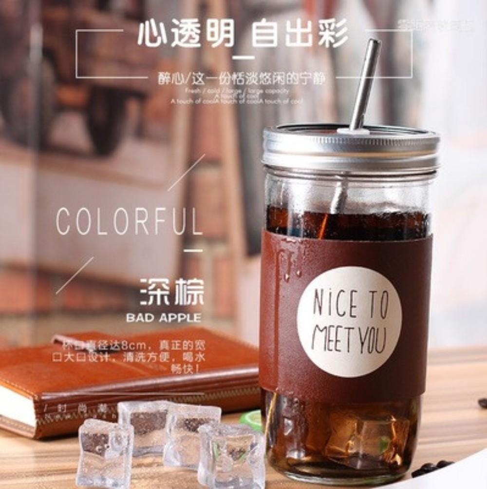 커피스틱 한국 아이디어 성인 빨대컵 대용량 유리컵 덮개포함 수탉 따뜻한음료수 커피포트, 짙은 갈색. 비 눈금 650ml
