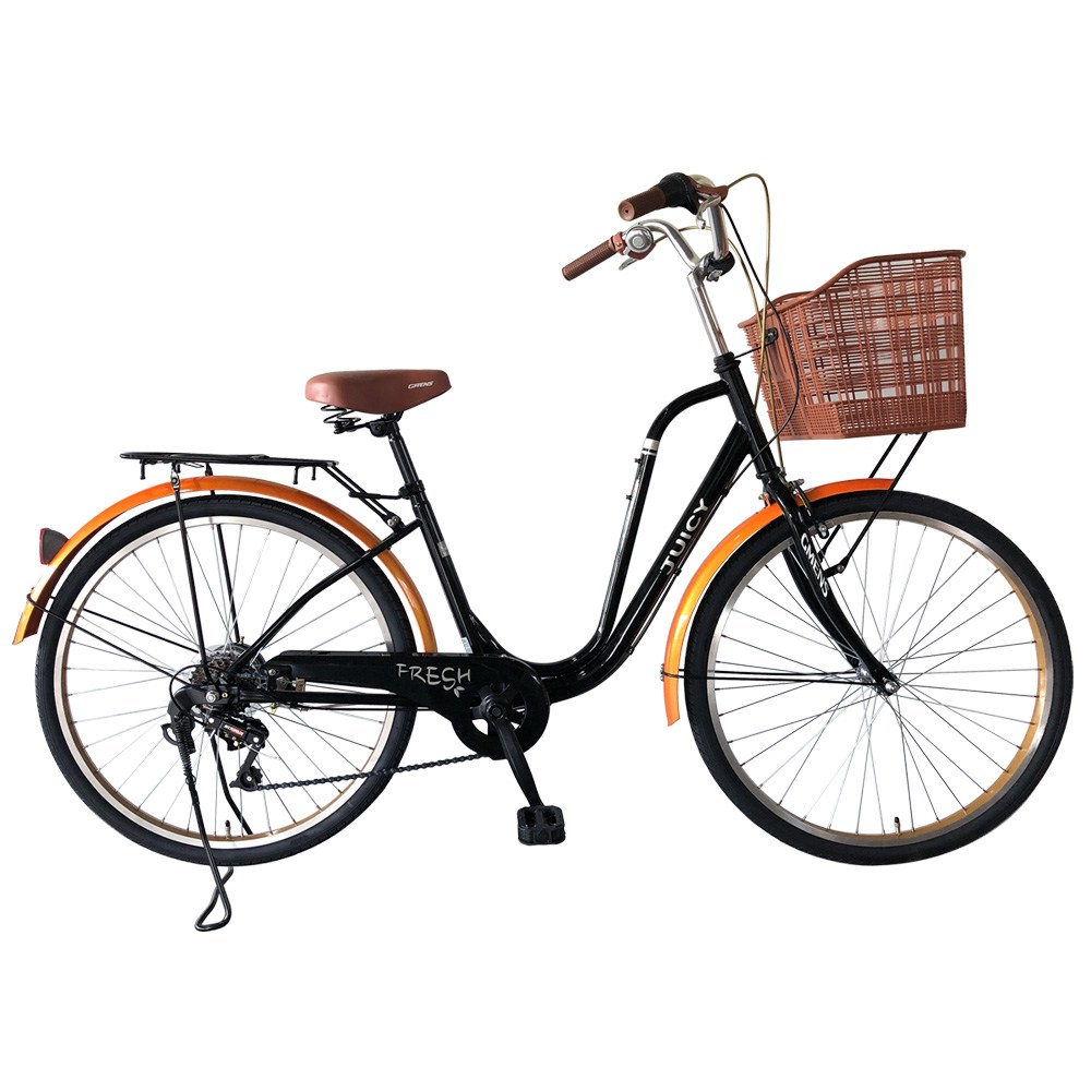 지멘스 클래식자전거 프레쉬26인치 7단 알루미늄핸들 여성용 자전거, 175cm, 프레쉬26인치 블랙/빈티지오렌지_미조립박스(공구미포함)