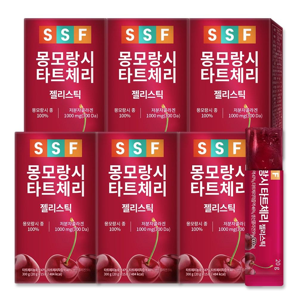 순수식품 몽모랑시 타트체리 저분자 피쉬 콜라겐 젤리 스틱 6박스(90포) 300달톤, 90개, 20g