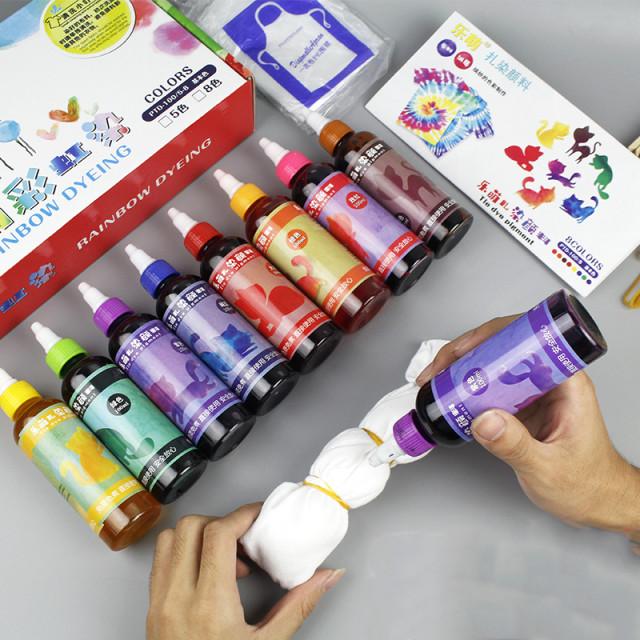 타이다이만들기 타이다이염료 홀치기 옷염색약 천염색, 5 색 염색 도료 세트 (3 인용)