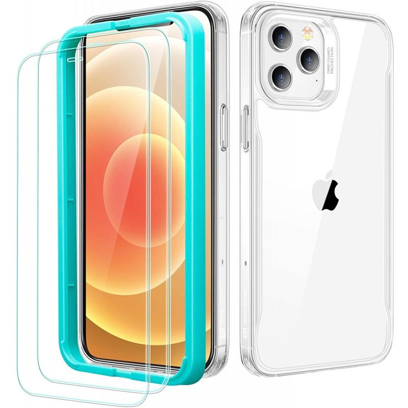 화면 보호기가있는 iPhone 12 Pro Max 케이스용 ESR Sidekick 시리즈 [유리 화면 보호기 2 개] [인체 공학적 보호 케이스] [충, 1, 단일옵션