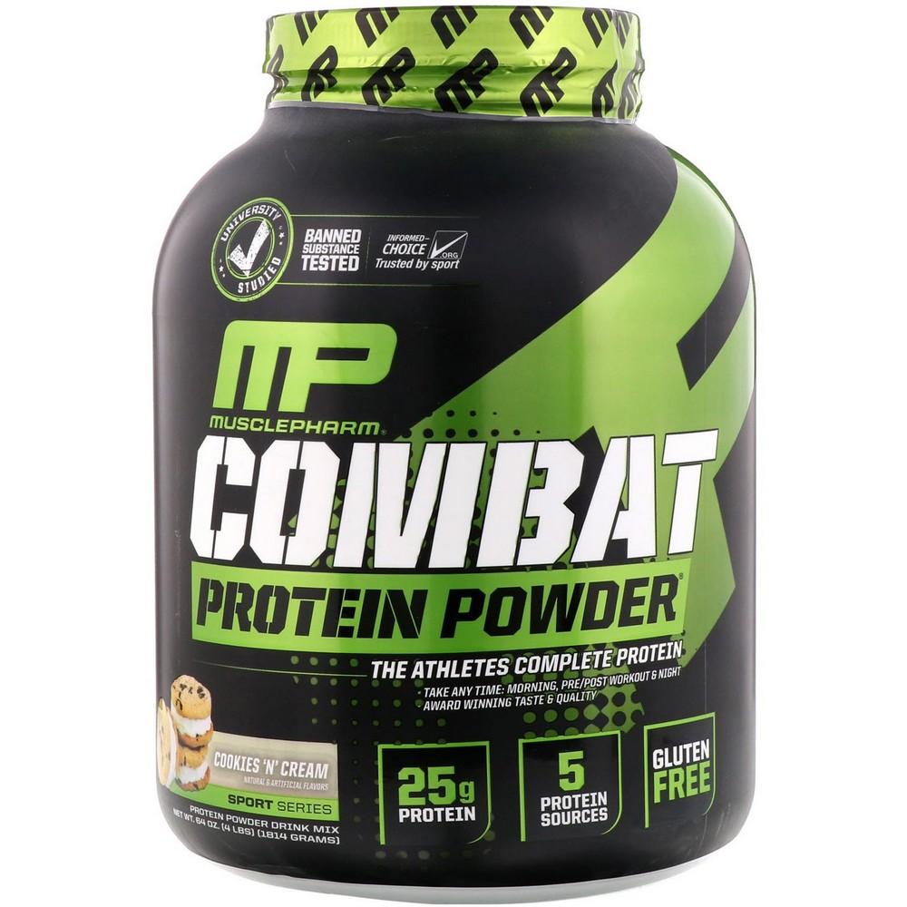[미국직구]MusclePharm 컴베트 파우더(Combat Powder) 향상된 타임 릴리즈 단백질 쿠키 앤 크림 4lb (1814g), 선택, 상세설명참조