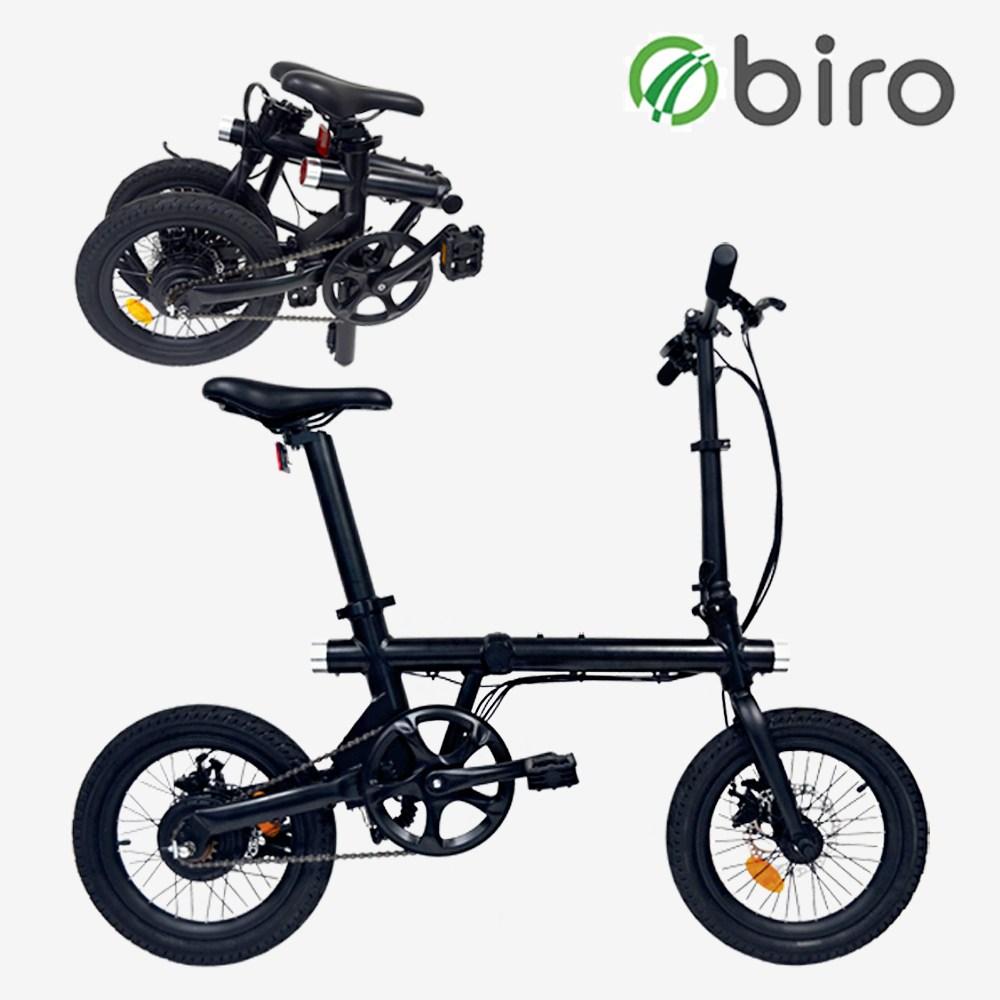 바이로 미니A 16인치 접이식 출퇴근용 전기자전거, 블랙