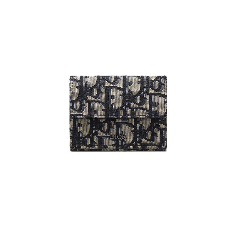 [더그란데] [디올] 오블리크 트리폴드 3단 지갑 (블루베이지) 2OBBC110YSE_H05E