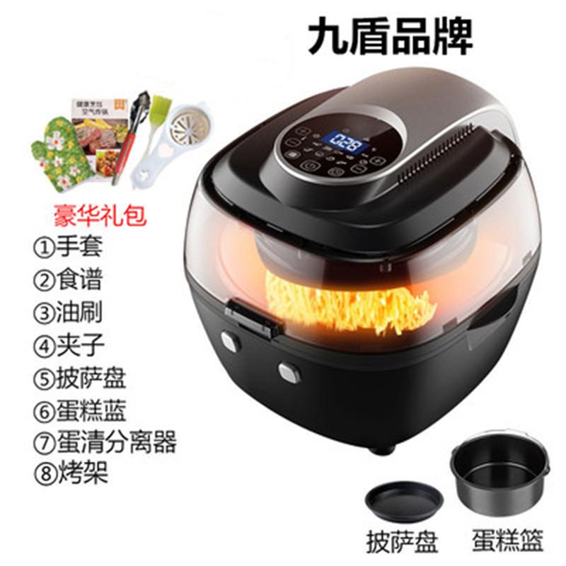 Deguo Jiudun 대용량 에어 프라이어 전기 자동 프라이 기계, 나인 쉴드 6.5L 비주얼 LCD 럭셔리 블랙