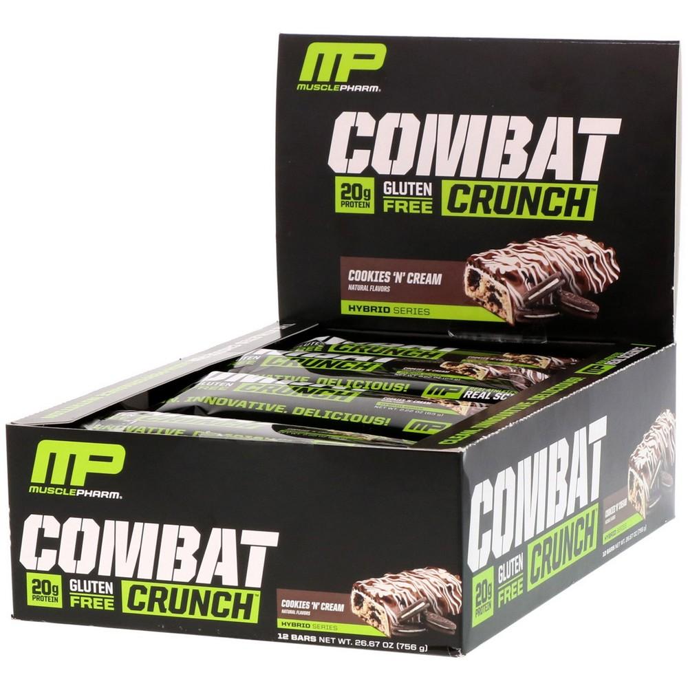 [미국직구]MusclePharm 컴배트 크런치(Combat Crunc) 쿠키앤 크림(Cookies N Cream) 12 개입 각 2.22oz (63g), 선택, 상세설명참조