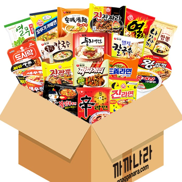 까까나라 과자 간식 랜덤 럭키박스 인기라면 20p 선물세트, 1box, 인기라면 럭키박스(20p)