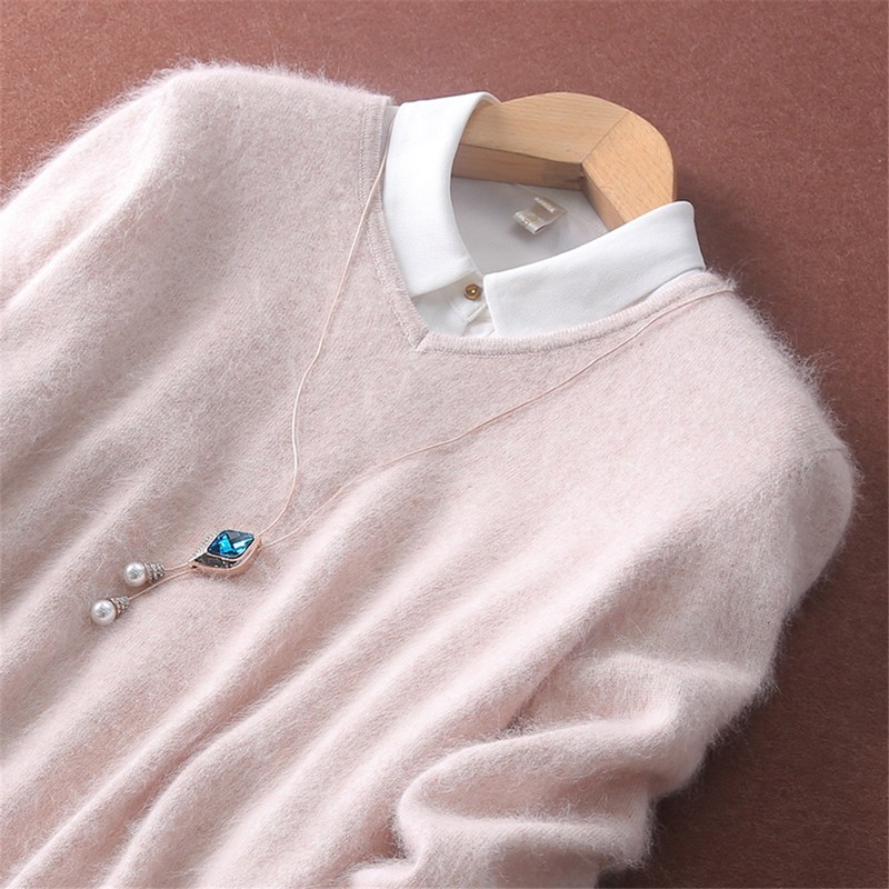 캐시미어니트 2019봄가을 100순수 밍크솜털 v넥스웨터 여자풀오버 캐시미어 언더셔츠 두꺼운 빅사이즈 니트