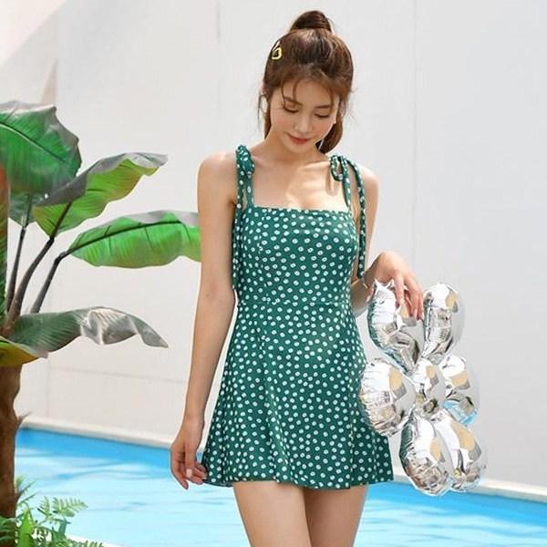 헤링본 원피스 수영복 비키니 모노키니 플라워 플레어 체형보정 비치웨어 CD203, CDX203 이자벨