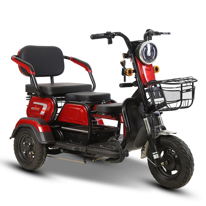 노인 3륜 전기자전거 스쿠터/부모 선물 성인 삼륜 전동오 토바이 600W 48V 등판각도35도 2인승겸용 12A-22A, 48V 12A 납산 배터리, 빨간색