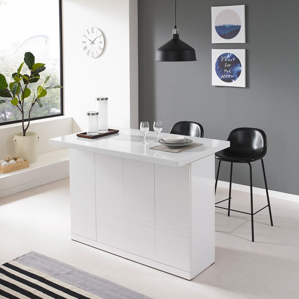 퍼니아트 인조대리석 아일랜드 식탁 홈바 테이블 H120_600, 화이트