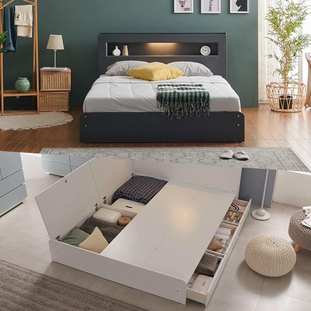 크렌시아 마커스 LED 수납형 퀸 침대 Q+본넬 매트리스+방수커버, 그레이