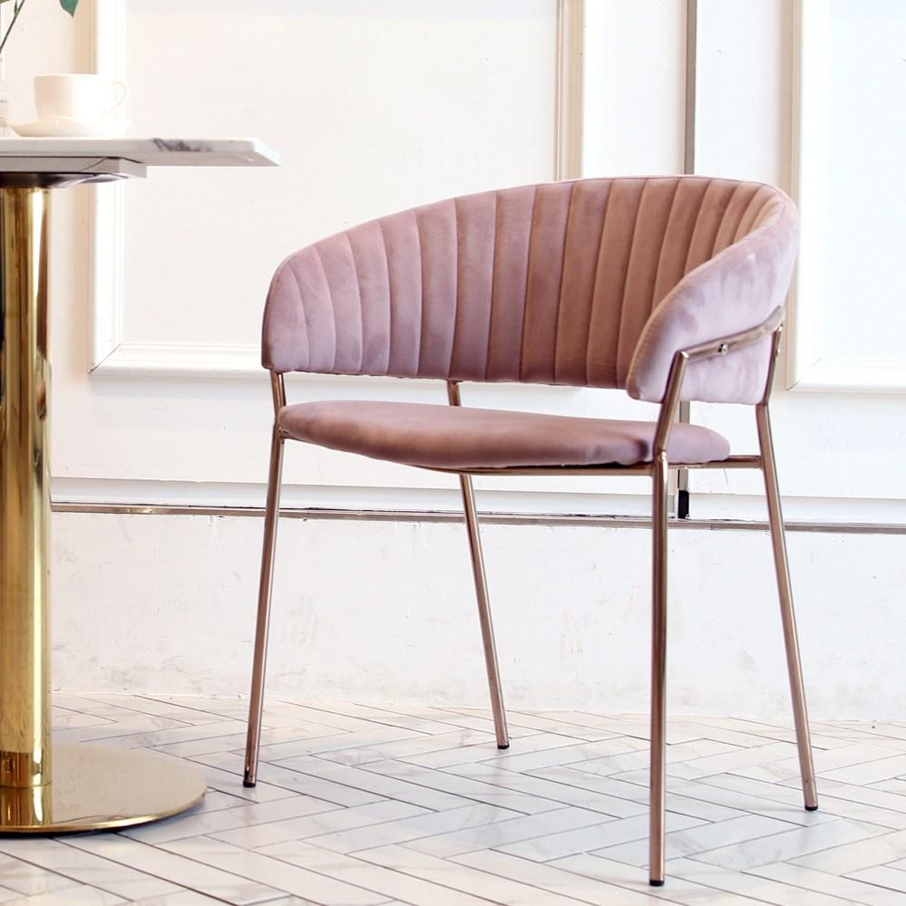 지엠퍼니처 엘리 벨벳 골드체어 인테리어의자, 엘리체어 핑크+소비자조립