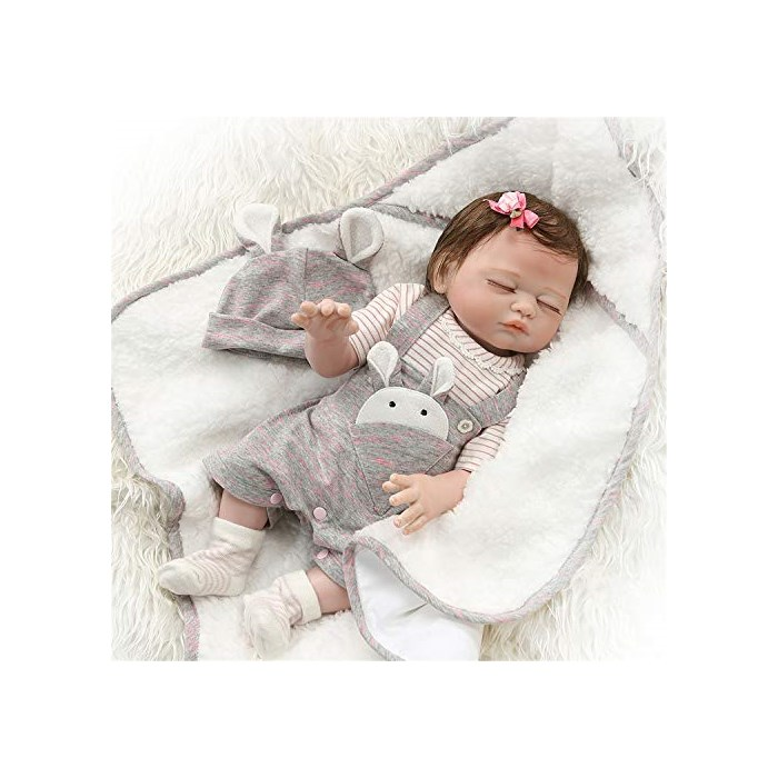 Zero Pam Reborn Baby 인형 Bath 20 inch Realistic Newborn Sleeping Girl Full Body Silicone Vinyl Toys, One Size, white