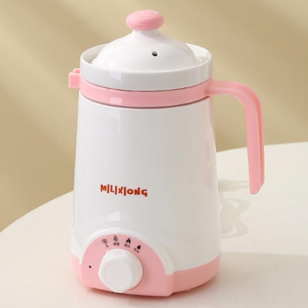 원룸 사무실 기숙사 1인용 전기 커피 포트 죽 메이커, 핑크 500ml