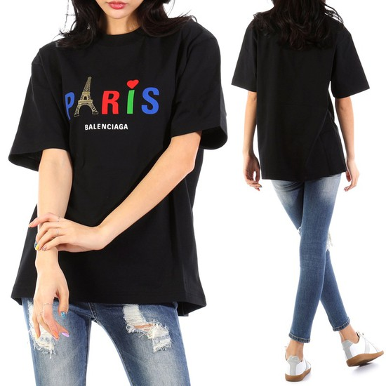 발렌시아가 20SS 594599 블랙 파리 로고 티셔츠 201912 1111_9364601