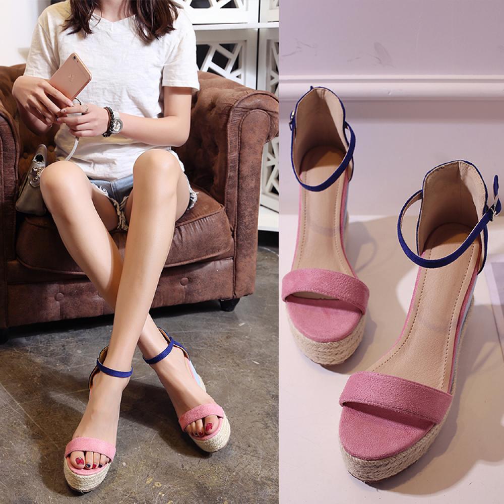 봄 여름 여성 여자 웨지힐 샌들 스트랩 여행 신발 601 BE0ezo0 지에스 2