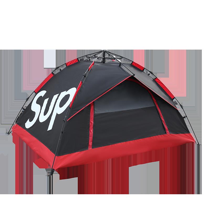 원터치텐트 슈프림 야외 텐트 캠핑 싱글 더블 방수, 검은