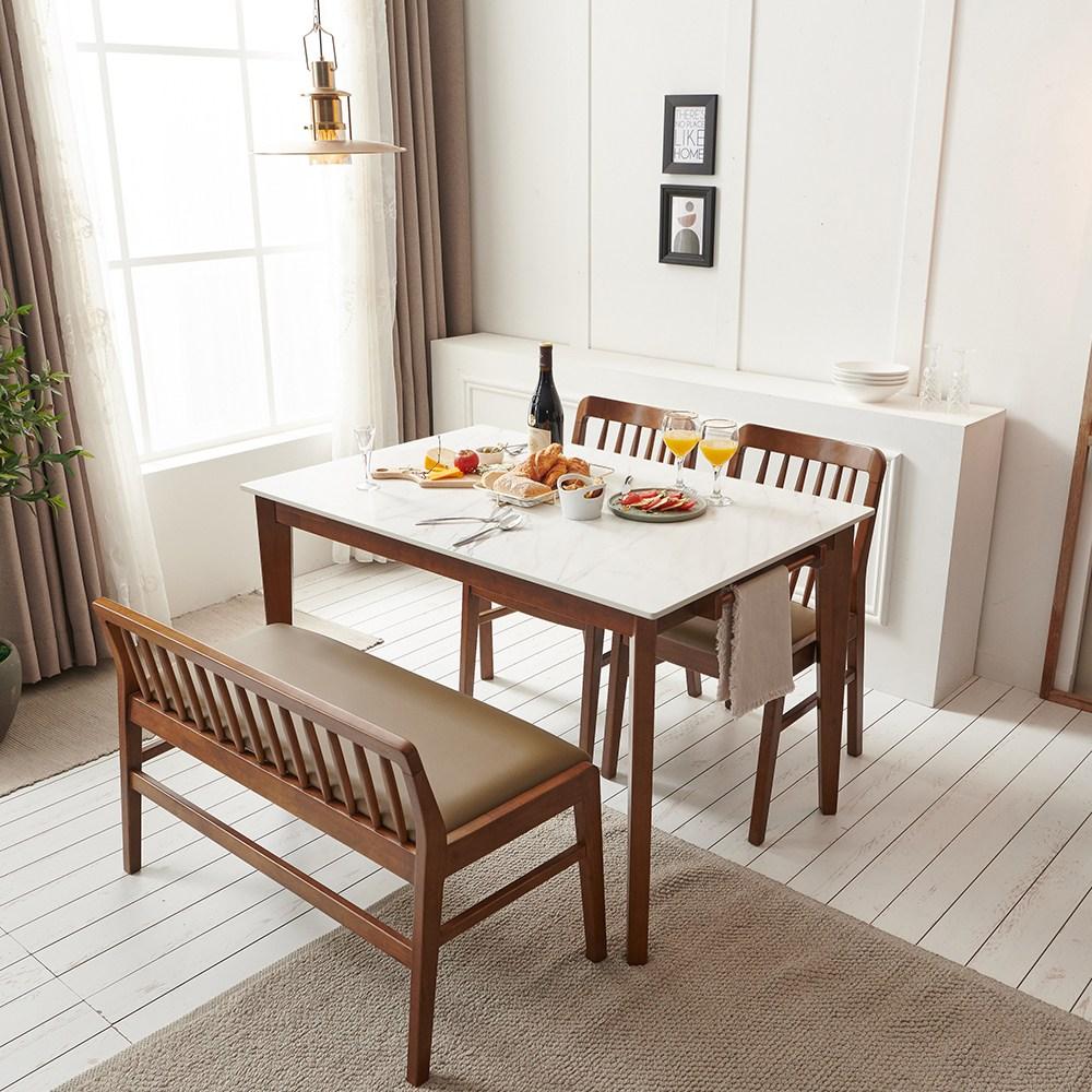 보니애가구 블랑코 1200 통세라믹 테이블 4인용 식탁 세트 식탁세트, 벤치형 (의자 2개 +벤치 1개)