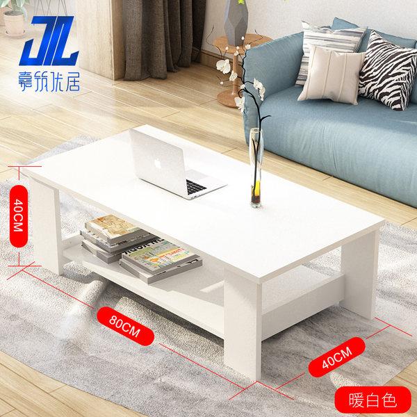간단한 현대 거실 사이드 가구 커피 테이블 더블 나무, 80-40 【온난 한 화이트】