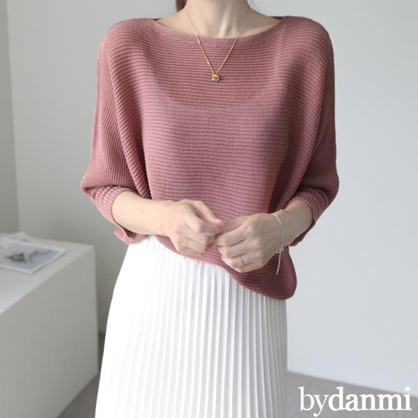 [바이단미 자체제작 국내생산] 여성용 봄 여름 보트넥 가오리 7부 루즈핏 입술넥 니트