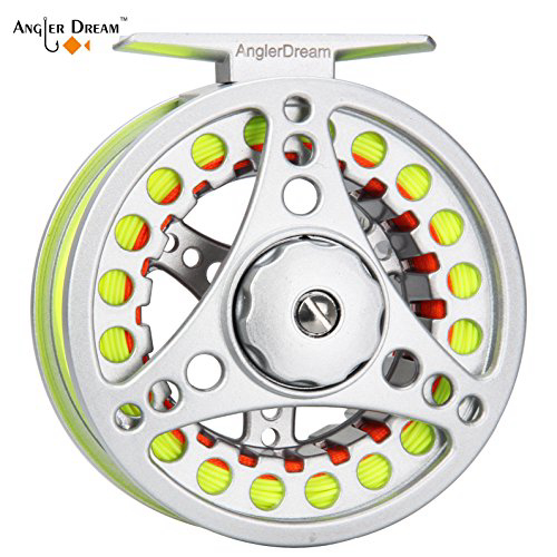 ANGLER DREAM AnglerDream 3 4WT Fly Reel with Line Combo Large Arbor Aluminum Fly Fishing Reels ANGLE, 1