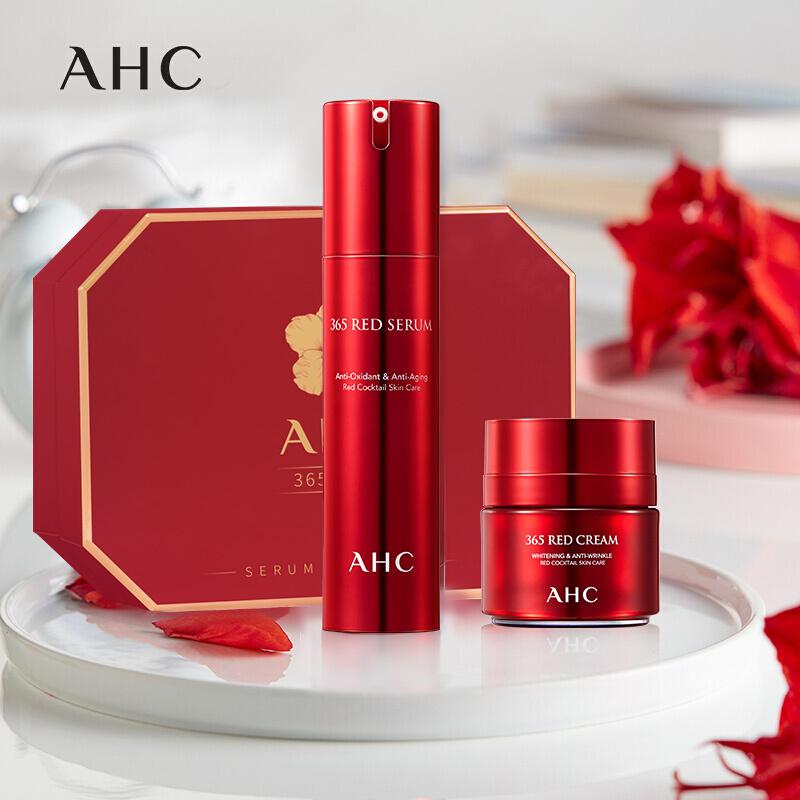 ahc 빨 간 기운 깜짝 선물 상자 (빨 간 에센스 + 빨 간 기운 크림 + 에센스 샘플, 1개