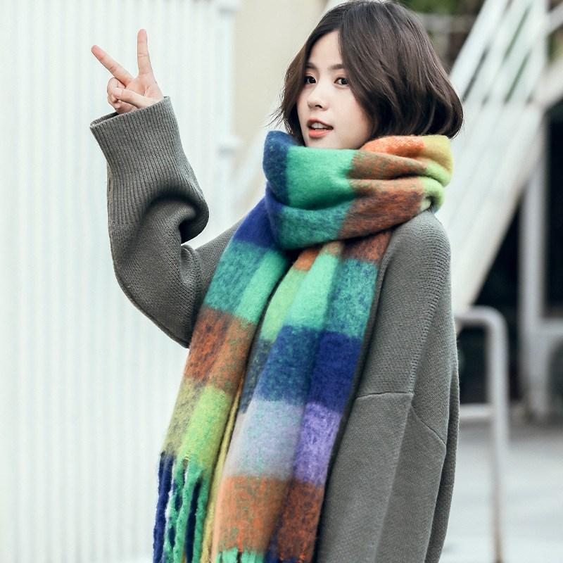 엔라인 여성 겨울 아크네 목도리 체크멀티 머플러N516