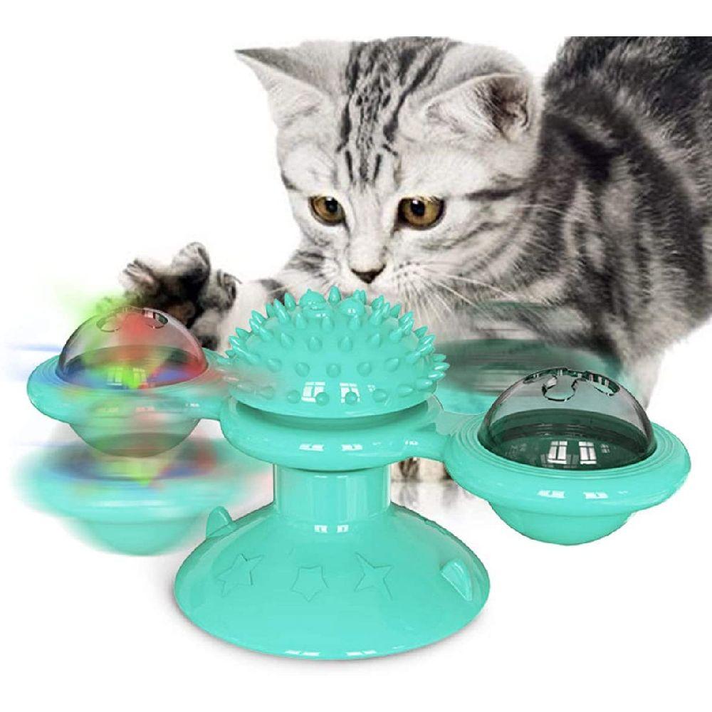 BBDYOY 풍차 고양이 장난감 턴테이블 괴롭 히고 애완 동물 장난감 긁는 간지럼 고양이 헤어 브러쉬 재미, 상세페이지참조, none